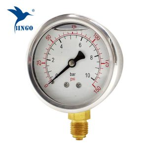 60 mm rostfritt stål fodral mässing anslutning botten typ tryckmätare 150PSI oljefylld tryckmätare